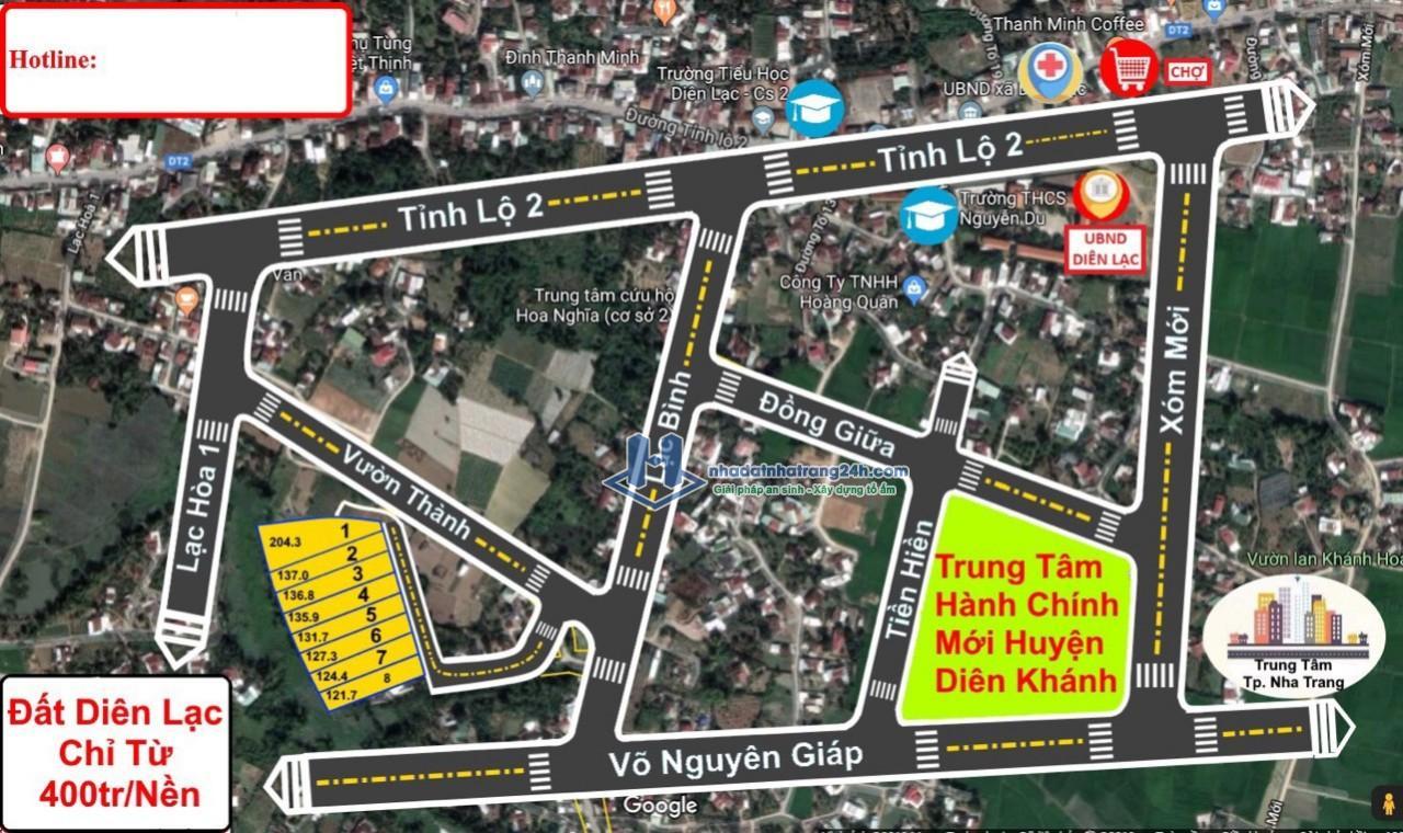 Bán đất thôn Thanh Minh 2, xã Diên Lạc, Diên Khánh